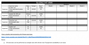 Sample workout showing formatting